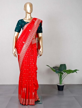 Latest red silk wedding wear saree