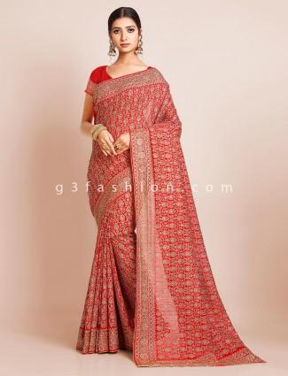 Latest red silk wedding wear saree for women