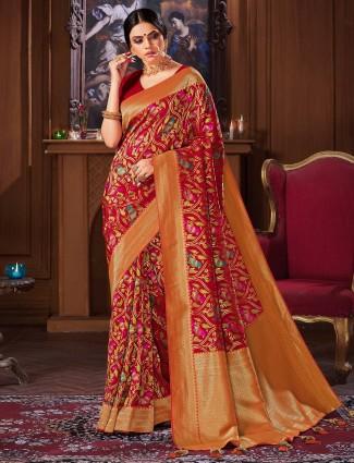 Latest red wedding banarasi silk saree for women