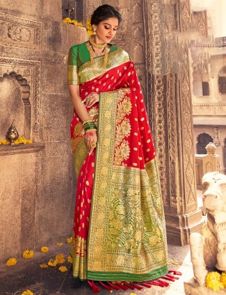 Latest red wedding ceremonies banarasi silk saree
