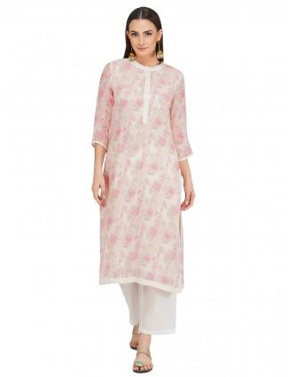 Latest rose pink cotton festive occasions punjabi style pant suit