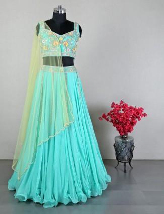 Latest sea green designer cotton silk wedding wear lehenga