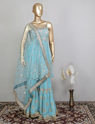 Latest sea green wedding event sharara suit in georgette