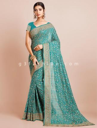 Latest silk saree for women in green