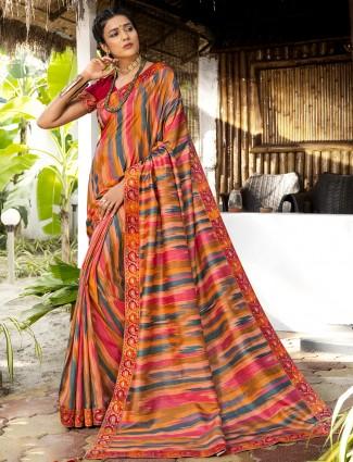 Latest silk wedding occasions saree in peach
