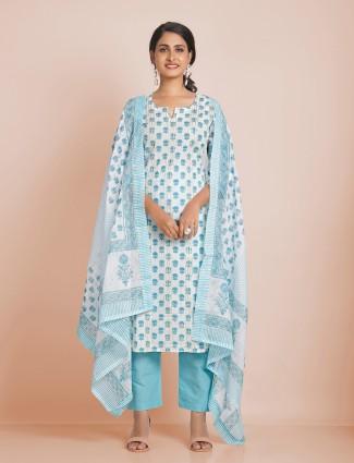 Latest sky blue cotton festive occasions punjabi style pant suit
