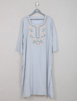 Latest designer grey cotton printed kurti for casual look