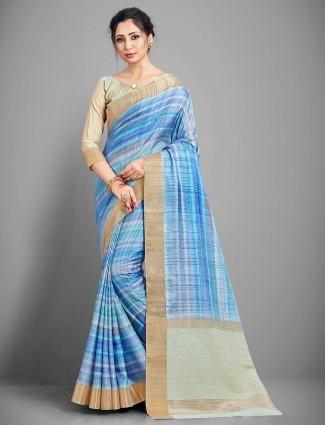 Latest sky blue handloom cotton festive wear saree