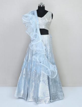 Latest sky blue tissue silk lehenga choli for wedding