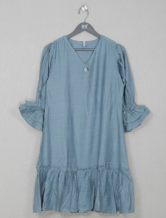 Latest solid blue casual wear top for women