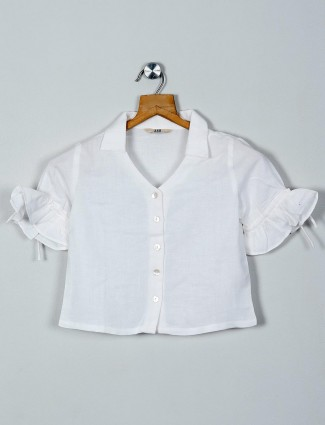 AND latest solid white collar neck cotton top