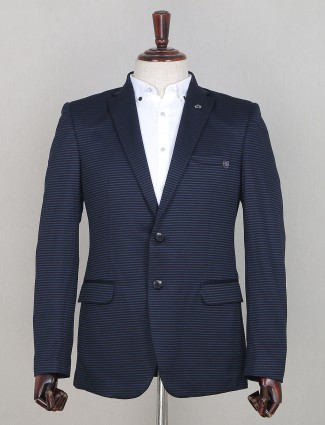 Latest striped style navy hue blazer for party