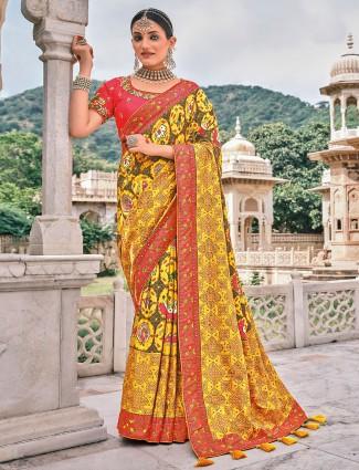 Latest sunshine yellow wedding bandhej patola silk saree