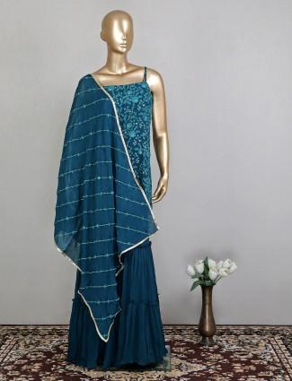 Latest teal blue designer palazzo style salwar kameez for wedding