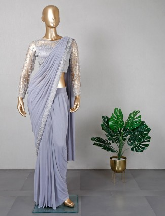 Latest violet colour ready to wear saree