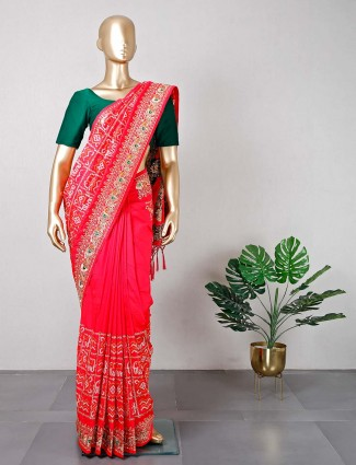 Latest wedding wear red silk saree