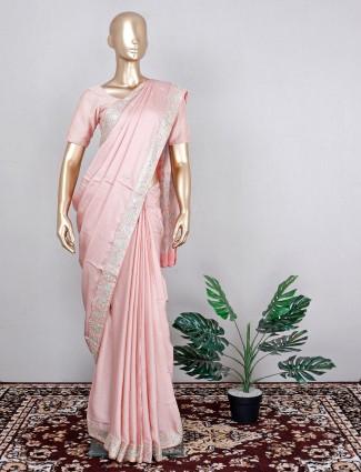 Latest wedding wear silk saree in pink