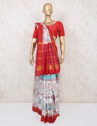 Latest wedding wear white pure patola silk saree