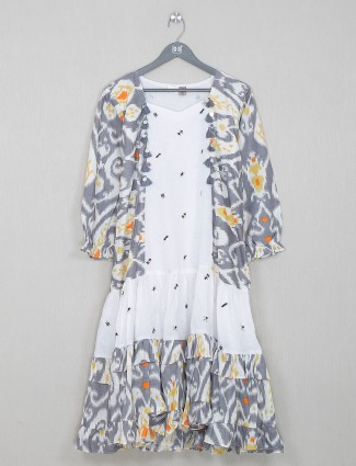 Latest grey cotton printed kurti for casual wear