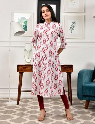 Latest white printed cotton casual wear kurti
