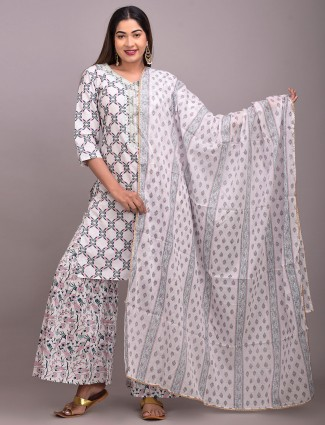 Latest white printed festive ceremony punjabi style palazzo suit