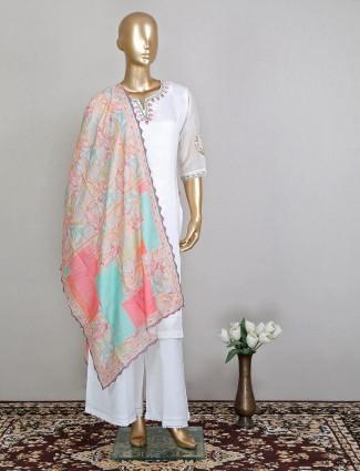 Latest white punjabi style cotton palazzo suit for festive