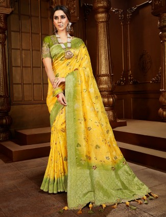 Latest yellow and green saree for wedding events in dola silk