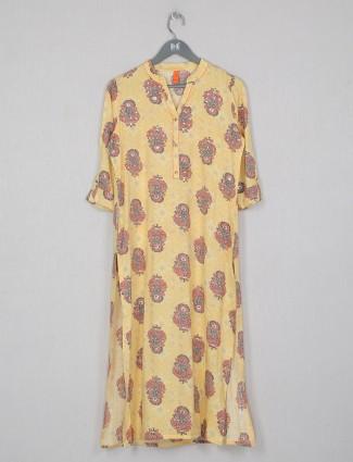 Latest yellow cotton casual wear kurti