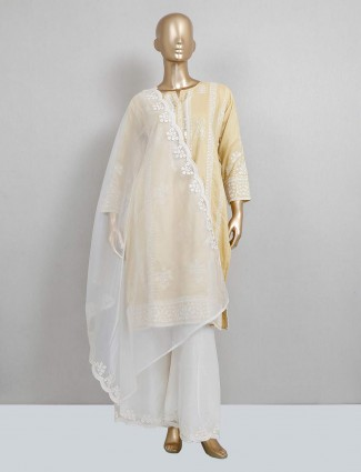 Latest yellow cotton palazzo suit for festive wear