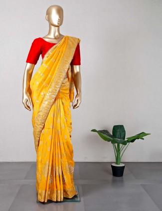 Latest yellow cotton silk saree for women