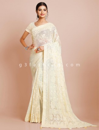 Latest yellow georgette saree for women
