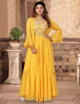 Latest yellow georgette wedding anarkali suit