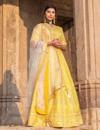 Latest yellow raw silk wedding function lehenga choli