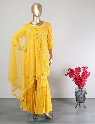 Latest yellow sharara salwar kameez for wedding functions