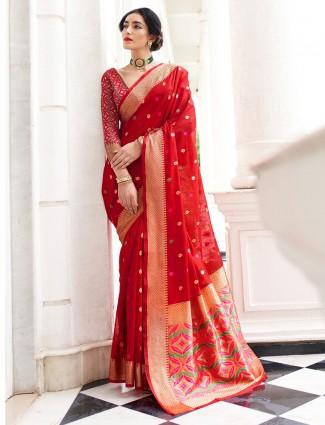 Latest red zari weaved festive saree