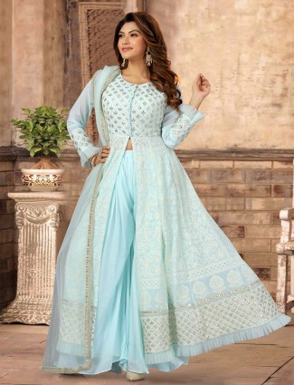 Latets sky blue georgette wedding palazzo suit