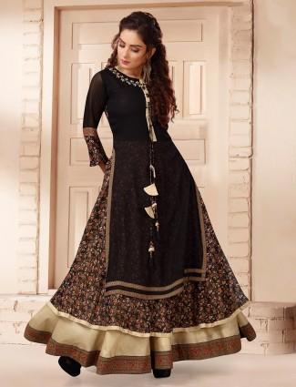 Lavish black georgette printed designer kurti