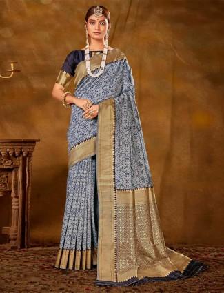 Lavish blue banarasi silk saree for wedding events