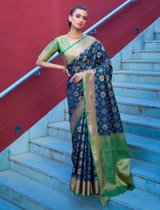 Lavish blue banarasi silk saree for wedding functions