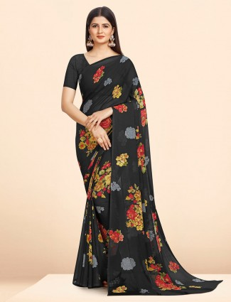 Lavish georgette black printed saree