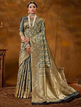 Lavish grey banarasi silk saree for wedding functions