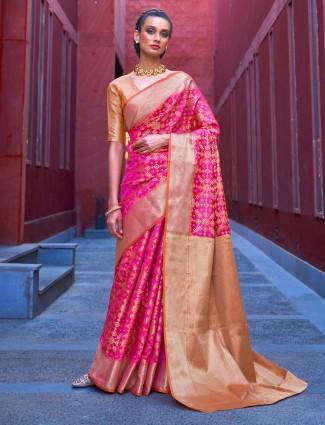 Lavish magenta banarasi patola silk saree for wedding occasions