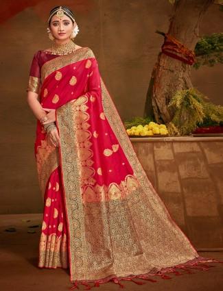 Lavish maroon banarasi silk saree for wedding fuction