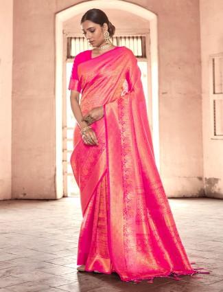 Lavish magenta kanjivaram silk saree for wedding functions