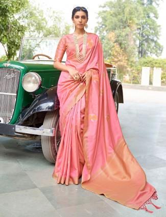 Lavish pink banarasi silk saree for wedding functions