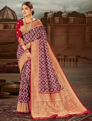 Lavish purple banarasi wedding wear saree for women