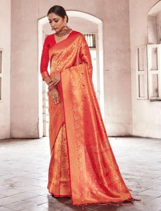 Lavish red kanjivaram silk saree for wedding functions