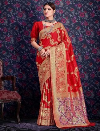 Lavish red banarasi silk saree for wedding occasions