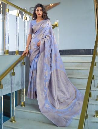 Lavish violet banarasi silk saree for wedding functions