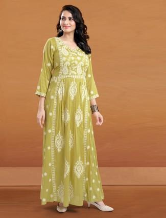 Lemon green festive events kurti in cotton